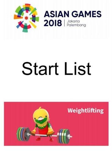 استارت لیست نهایی رقابتهای وزنه برداری بازیهای آسیایی اعلام شد