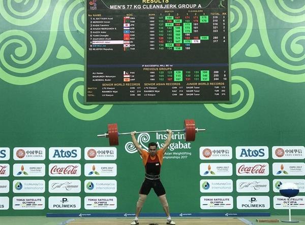 پایان رقابت وزنه برداری دسته 77 کیلوگرم، قهرمانی آسیا